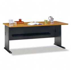 Bush Series A Workstation Desk, Natural Cherry/Slate Gray, 71 5/8wx26 7/8dx29 7/8h