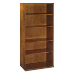 "Bush Series C Open Five Shelf Double Bookcase, 35 5/8"" Wide, Medium Cherry"