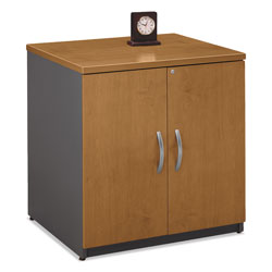 Bush Series C Two-Door Storage Cabinet, 29-1/2 x 23-3/8 x 29-7/8, Natural Cherry/Gray