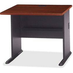 Bush Series A Workstation Desk, Hansen Cherry/Marbled Slate, 36w x 26 7/8d x 29 7/8h