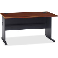 Bush Series A Workstation Desk, Hansen Cherry/Marbled Slate, 60w x 26 7/8d x 29 7/8h