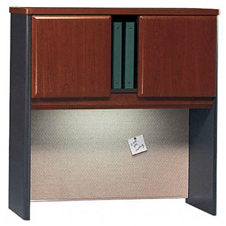 Bush Series A Hutch, Hansen Cherry/Marbled Slate, 36w x 13 7/8d x 36 1/2h