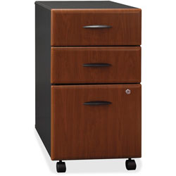 Bush Mobile Vertical File, 2 Box Drawers/1 File Drawer, Hansen Cherry/Marbled Slate