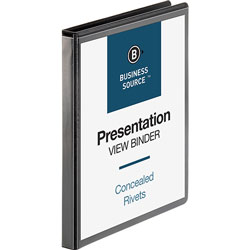 "Business Source Standard 1/2"" View Binder, Black"