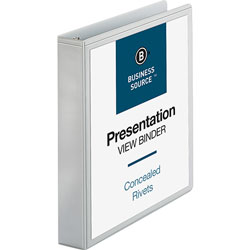 "Business Source Standard 1 1/2"" View Binder, White"