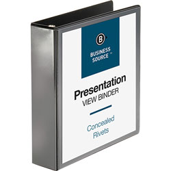 "Business Source Standard 2"" View Binder, Black"