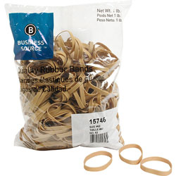 Business Source Rubber Bands, Size 62, 1 lb bag, Natural Crepe
