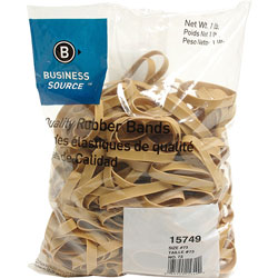 Business Source Rubber Bands, Size 73, 1 lb bag, Natural Crepe