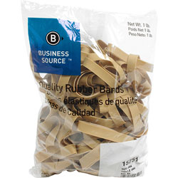 Business Source Rubber Bands, Size 84, 1 lb bag, Natural Crepe