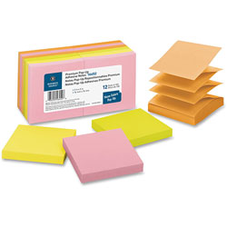 "Business Source Adhesive Note Pads, Pop-up, 3"" x 3"", 100 Sh, Neon Assorted"