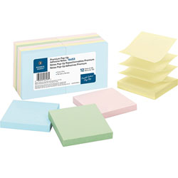 "Business Source Adhesive Note Pads, Pop-up, 3"" x 3"", 100 Sh, Pastel"