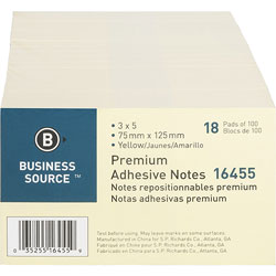 "Business Source Adhesive Note Pads, Pop-up, 3"" x 5"", 100 Sheets, 18 Pack, Yellow"