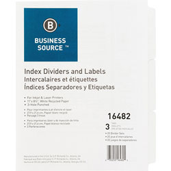 Business Source 3-Tab Indexed Sheet Dividers, White