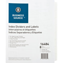 Business Source 8-Tab Indexed Sheet Dividers, White