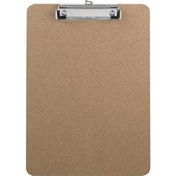 "Business Source Clipboard, w/Flat Clip/Rubber Grips, 9"" x 12-1/2"", Brown"