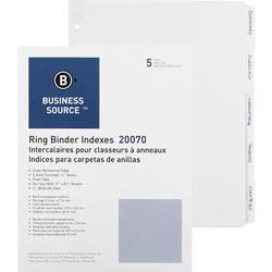 Business Source Wide Index Tabs, White