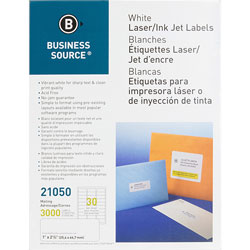 "Business Source Mailing Label, Laser, 1""x2-5/8"", 3000/PK, White"