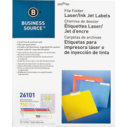 Business Source Label, File Folder, Laser/Inkjet, Assorted