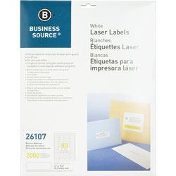 "Business Source Label, Mailing, Laser, 1/2"" x 1-3/4"", 2000 Pack, White"