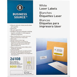 "Business Source Label, Mailing, Laser, 1/2"" x 1-3/4"", 8000 Pack, White"