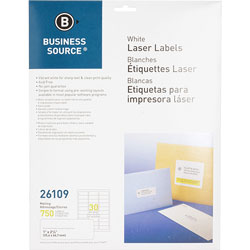 "Business Source Label, Mailing, Laser, 1"" x 2-5/8"", White"