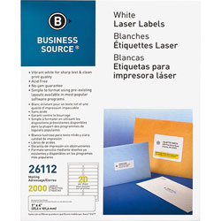 "Business Source Label, Mailing, Laser, 1"" x 4"", 2000 Pack, White"