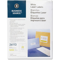 "Business Source Label, Mailing, Laser, 1"" x 4"", 5000 Pack, White"