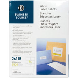 "Business Source Label, Mailing, Laser, 1-1/3"" x 4"", 3500 Pack, White"