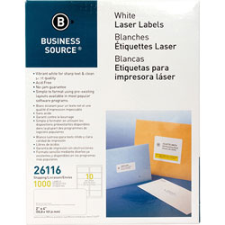 "Business Source Labels, Mailing, Laser, 2"" x 4"", White"