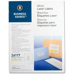 "Business Source Labels, Mailing, Laser, 2"" x 4"", 2500 Pack, White"