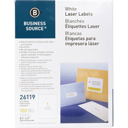 "Business Source Labels, Mailing, Laser 8-1/2"" x 11"", White"