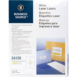 "Business Source Labels, Mailing, Laser, 3-1/2"" x 5"", White"