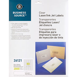 "Business Source Label, Mailing, Laser, 1/2"" x 1-3/4"", 2000 Pack, Clear"