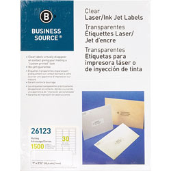 "Business Source Label, Mailing, Laser, 1"" x 2-3/4"", Clear"