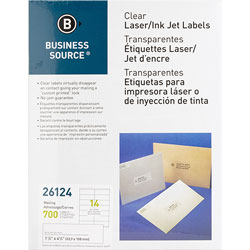 "Business Source Label, Mailing, Laser, 1-1/3"" x 4"", 700 Pack, White"