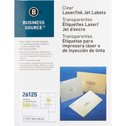 "Business Source Labels, Mailing, Laser, 2"" x 4"", 500 Pack, Clear"