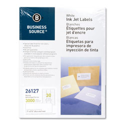 "Business Source Labels, Mailing, Inkjet, 1"" x 2-5/8"", 3000 Pack, White"