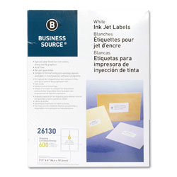"Business Source Labels, Mailing, Inkjet, 3-1/3"" x 4"", 600 Pack, White"