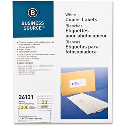 "Business Source Labels, Mailing, Copier, 1"" x 2-3/4"", 3300 Pack, White"