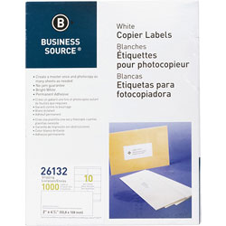 "Business Source Labels, Mailing, Copier, 2"" x 4-1/4"", White"