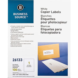 "Business Source Labels, Mailing, copier, 8-1/2"" x 11"", White"