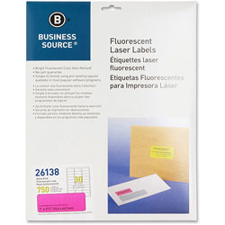 "Business Source Laser Labels, Fluorescent, 1"" x 2-5/8"", Neon Pink"