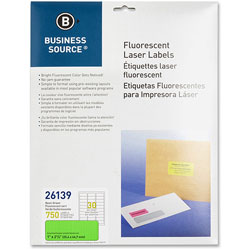 "Business Source Laser Labels, Fluorescent, 1"" x 2-5/8"", Neon Green"
