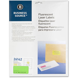 "Business Source Laser Labels, Fluorescent, 2"" x 4"", 250 Pack, Neon Green"