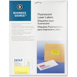 "Business Source Laser Labels, Fluorescent, 2' x 4"", 250 Pack, Neon Yellow"