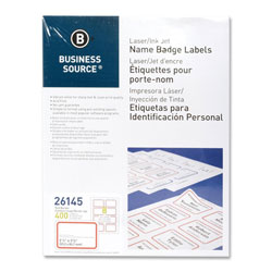 "Business Source Name Badge, Laser, 2-1/3"" x 3-3/8"", White/Red"