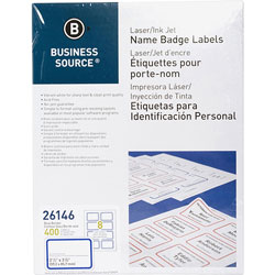 "Business Source Name Badge, Laser, 2-1/3"" x 3-3/8"", White/Blue"