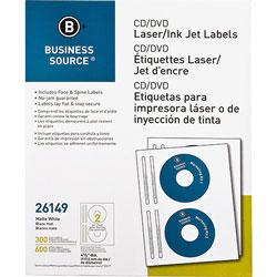 Business Source Label, CD/DVID, Laser/inkjet, 300 Pack, White