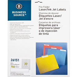Business Source File Folder Labels, Laser/Inkjet, White
