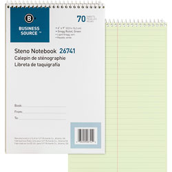 "Business Source Steno Notebook, Greg Ruled, 6"" x 9"", 70 Sheets, Green Paper"
